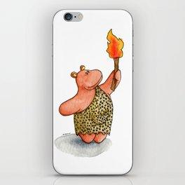 Fire baby! A cute caveman hippo illustration iPhone Skin