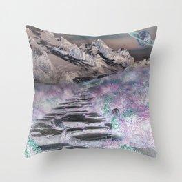 Cobble Stone Road Through The Mountains Towards Saturn Throw Pillow