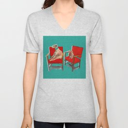 animals in chairs #14 The Greyhound and the Hare Unisex V-Neck