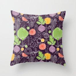 Vegetable Pattern Scandinavian Design Throw Pillow