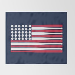 USA Baseball Flag Throw Blanket