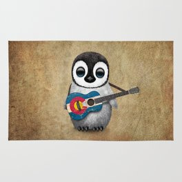 Baby Penguin Playing Colorado Flag Guitar Rug