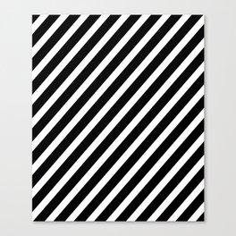 Black and White Diagonal Stripes Canvas Print