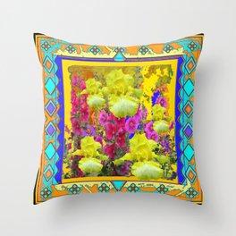 Yellow Iris Flower garden Western Art Design. Throw Pillow