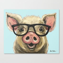 Cute Pig Painting, Farm Animal with Glasses Canvas Print