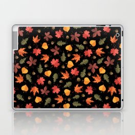 Autumn Leaves Pattern Black Background Laptop & iPad Skin