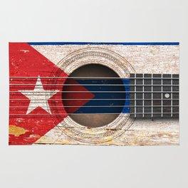 Old Vintage Acoustic Guitar with Cuban Flag Rug