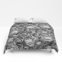 BITE ME roses and orchids BLACK WHITE Comforters