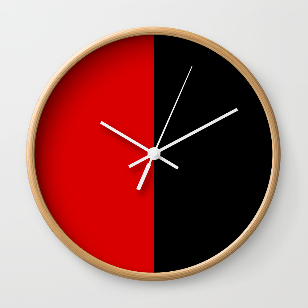 Psychedelic Black And Red Stripes Vii. Wall Clock by Azraelwest CLK9053204
