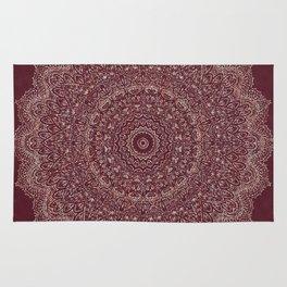 Rose Gold Marble Mandala Burgundy Textured Rug