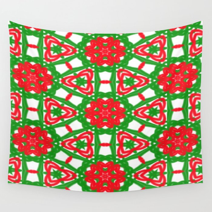 Red, Green and White Kaleidoscope 3372 Wall Tapestry