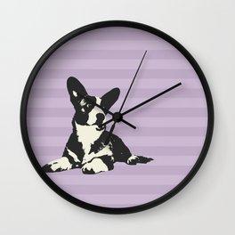 PURPLE STRIPE CORGI Wall Clock