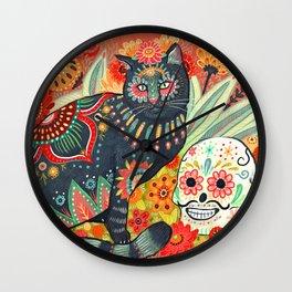 Dia De Los Muertos Cat Wall Clock