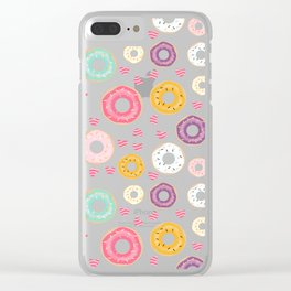 hearts and donuts purple Clear iPhone Case