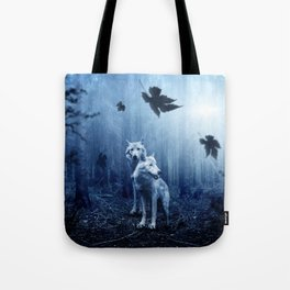 Wolfs in the blue forest Tote Bag