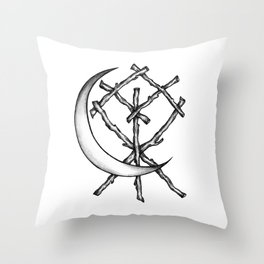 Crescent Moon Rune Binding Throw Pillow