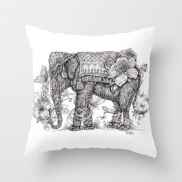 """Anesh the Creative Elephant"" Throw Pillow"