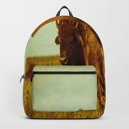 Vintage Bison - Buffalo on the Oklahoma Prairie Backpack