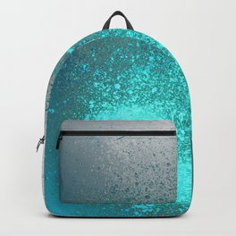 Vibrant Aqua and Grey Spray Paint Splatter Backpack