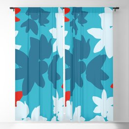 Bold Blue and Red Floral Pattern Blackout Curtain