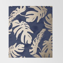 Simply Palm Leaves in White Gold Sands on Nautical Navy Throw Blanket