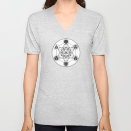 Metatron's Cube with Platonic Solids and Seed of Life Unisex V-Neck