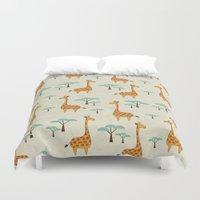 giraffes Duvet Covers featuring Giraffes by BlueLela