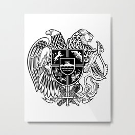 ARMENIAN COAT OF ARMS - Black Metal Print