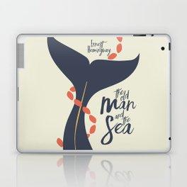 The old Man and the Sea, Ernest Hemingway book cover illustration, adventure novel Laptop & iPad Skin