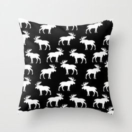 Moose Trot // Black Throw Pillow