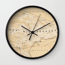 Vintage Map of Lake Winnipesaukee (1896) Wall Clock