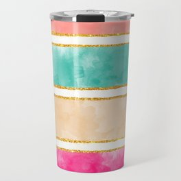 Modern Stripes Pink Red Watercolor Gold Glitter Travel Mug