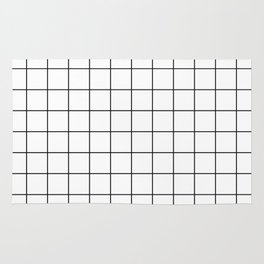 Grid Simple Line White Minimalistic Rug