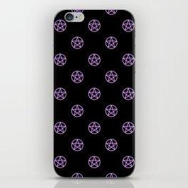 Purple Pentacle Pattern on Black iPhone Skin