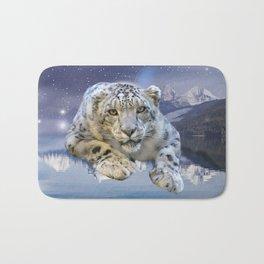 Snow Leopard and Moon Bath Mat