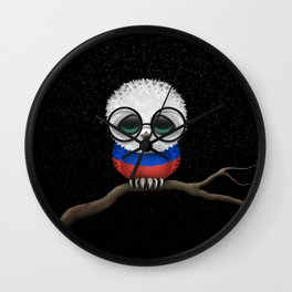 Baby Owl with Glasses and Russian Flag Wall Clock