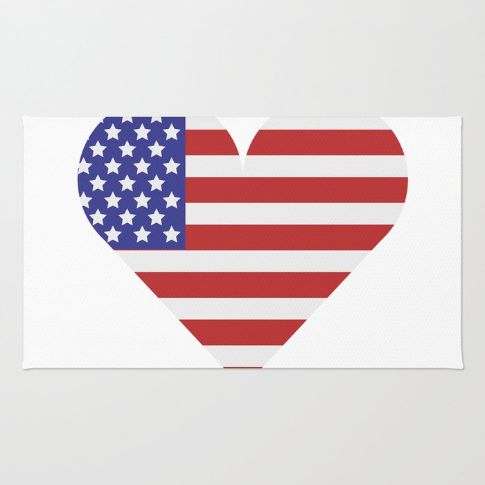united states flag with heart Rug