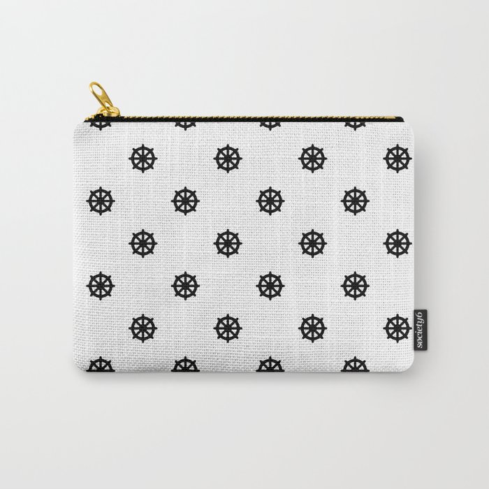 Dharma Wheel Pattern (Black and white) Carry-All Pouch