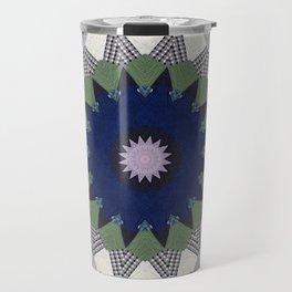 Patchwork Whimsy -- Vintage Block Quilt Mandala Kaleid0scope Travel Mug
