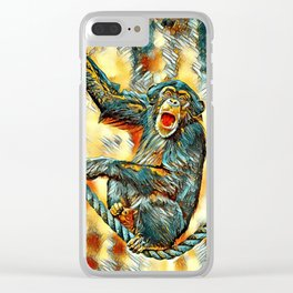AnimalArt_Chimpanzee_20170901_by_JAMColorsSpecial Clear iPhone Case