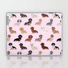 Dachshund dog breed pet pattern doxie coats dapple merle red black and tan Laptop & iPad Skin