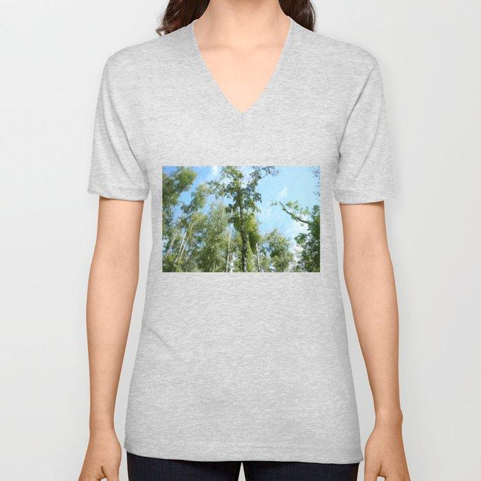 Nature. Blue Sky, Green Trees Unisex V-Neck