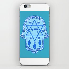 Hamsa for blessings, protection and strength - Turquoise iPhone Skin