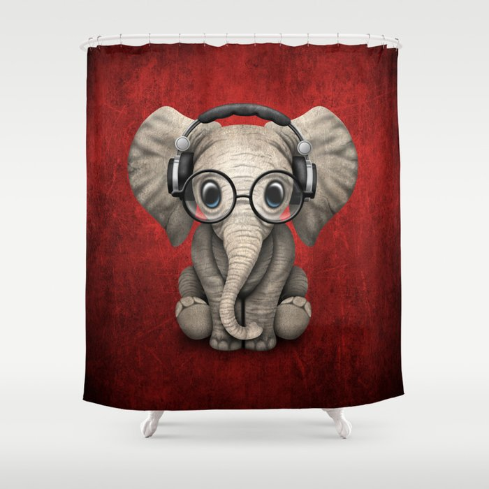 Cute Baby Elephant Dj Wearing Headphones And Glasses On Red Shower Curtain