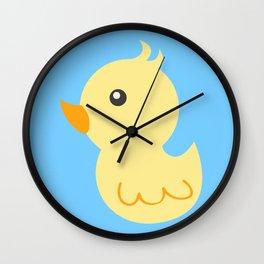 Yellow rubber ducks illustration Wall Clock