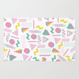 Abstract retro pink teal yellow geometrical 80's pattern Rug