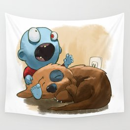 Zombies like to bite stuff too. Wall Tapestry