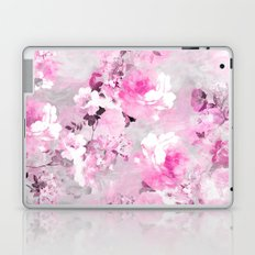 Purple grey floral watercolor romantic flowers pattern Laptop & iPad Skin