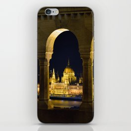 Hungarian Parliament through Fishermans bastion iPhone Skin