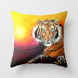 Awaiting the Darkness of Night (Male Tiger) Throw Pillow